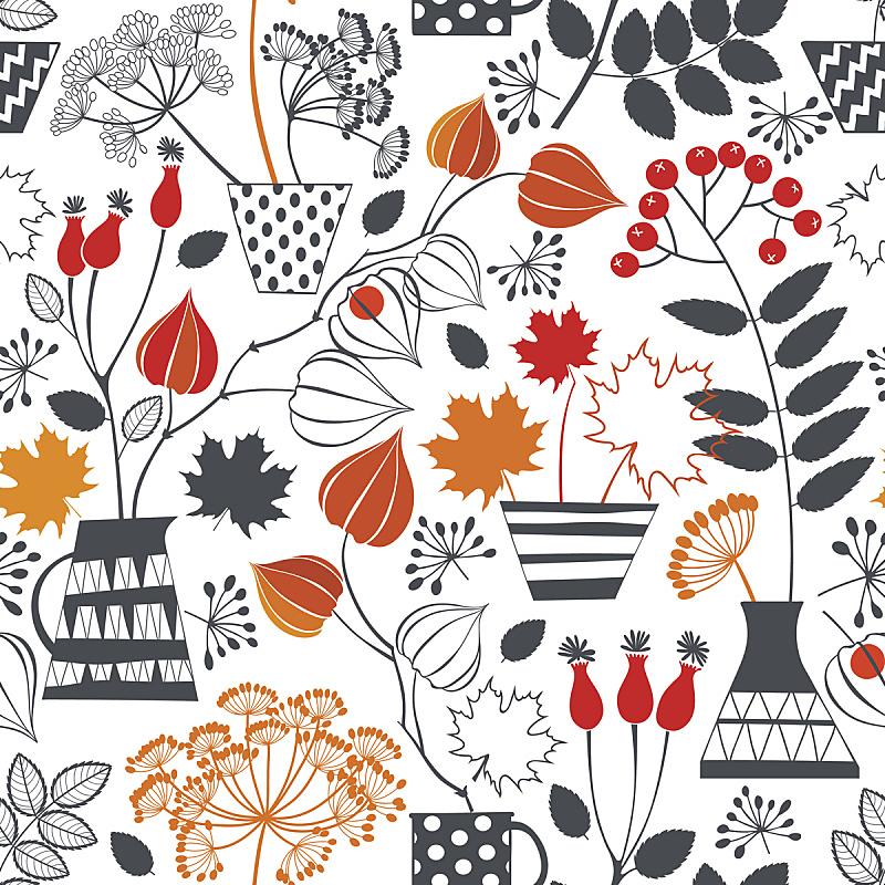植物,秋天,矢量,式样,华丽的,请柬,贺卡,美术工艺,纺织品,杯
