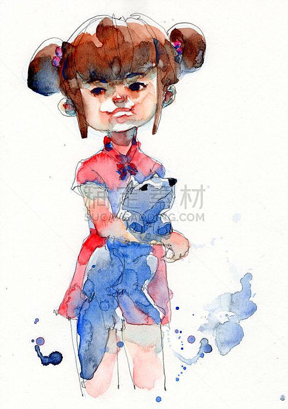 水彩画颜料,古服装,绘画插图,狗,手,女孩,纸,舞台,绘制