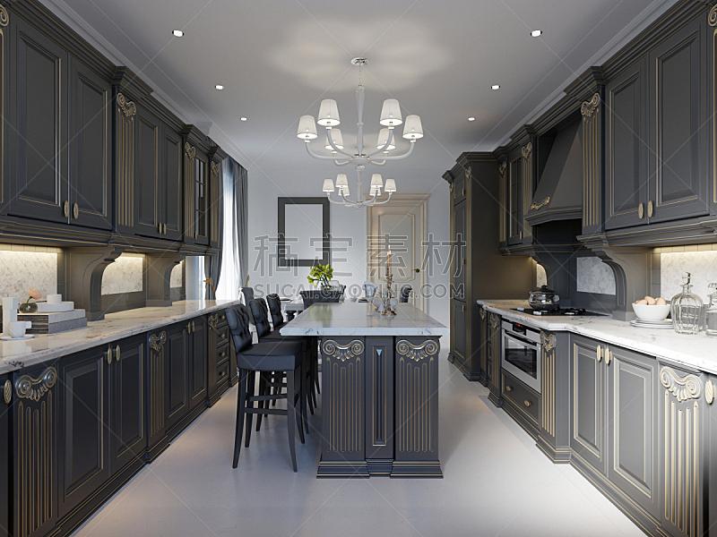 现代,大理石,厨房,白色,黑色,室内地面,简单,柜子,公寓,空的