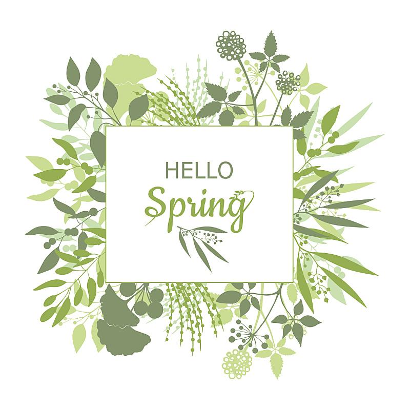 你好,正方形,文字,春天,绿卡情缘,贺卡,留白,欢迎标志,枝繁叶茂,绘画插图