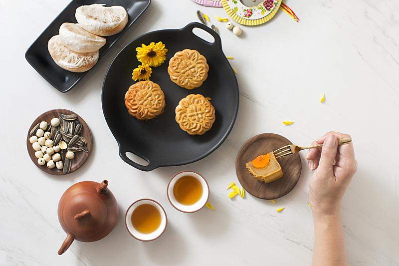 饮食,秋天,传统节日,中间,月饼,中秋节,中国茶,亮色调,茶壶,下午茶