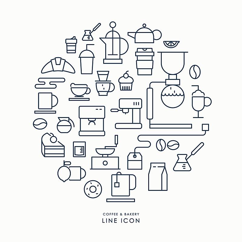 咖啡,成一排,面包店,计算机图标,信息图表,磨咖啡机,咖啡壶,烤咖啡豆,咖啡店,绘画插图