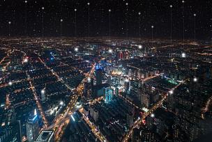 技术,计算机网络,上海,黄昏,现代,户外,建筑,金融区,市区,夜晚