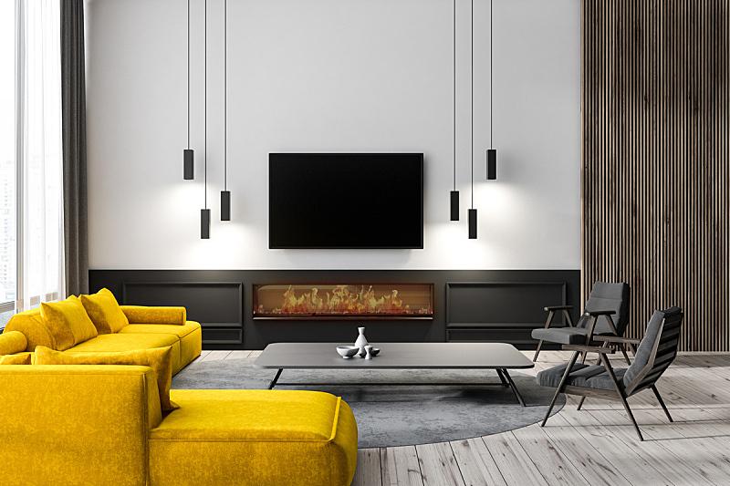 起居室,室内,电视机,华贵,舒服,椅子,电视秀,沙发,现代,窗户