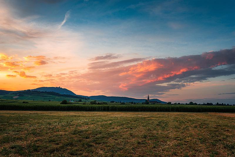 田地,阿尔萨斯,天空,美,水平画幅,云,无人,夏天,户外,光