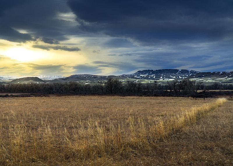 蒙大拿州,天空,水平画幅,云,无人,户外,草,云景,田地,山