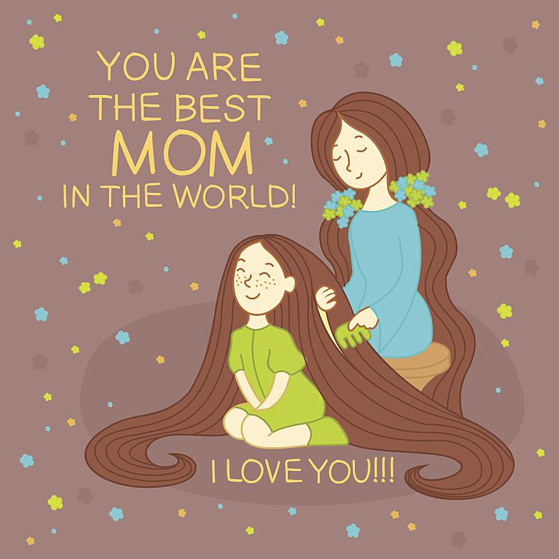 女儿,母亲,快乐,纸牌,母亲节,头发,羊毛帽,可爱的,家庭,父母