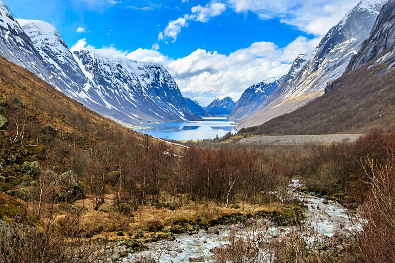 湖,河流,水,山,背景,雪山,挪威,视角,环境,云