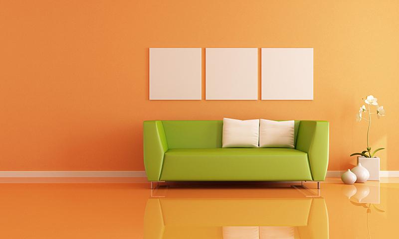 住宅房间,橙色,水平画幅,墙,无人,家具,居住区,现代,沙发,白色