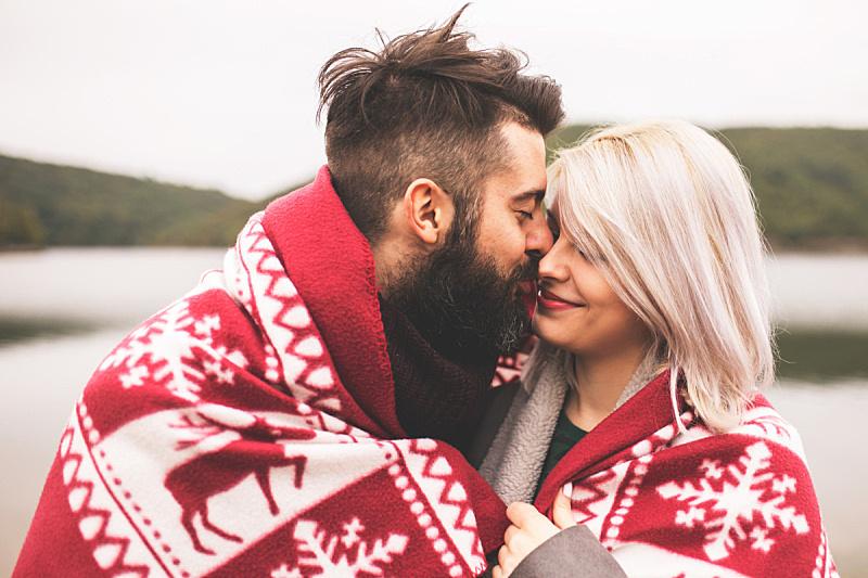 毯子,异性恋,户外,在下面,男朋友,浪漫,情人节,秋天,寒冷,伴侣