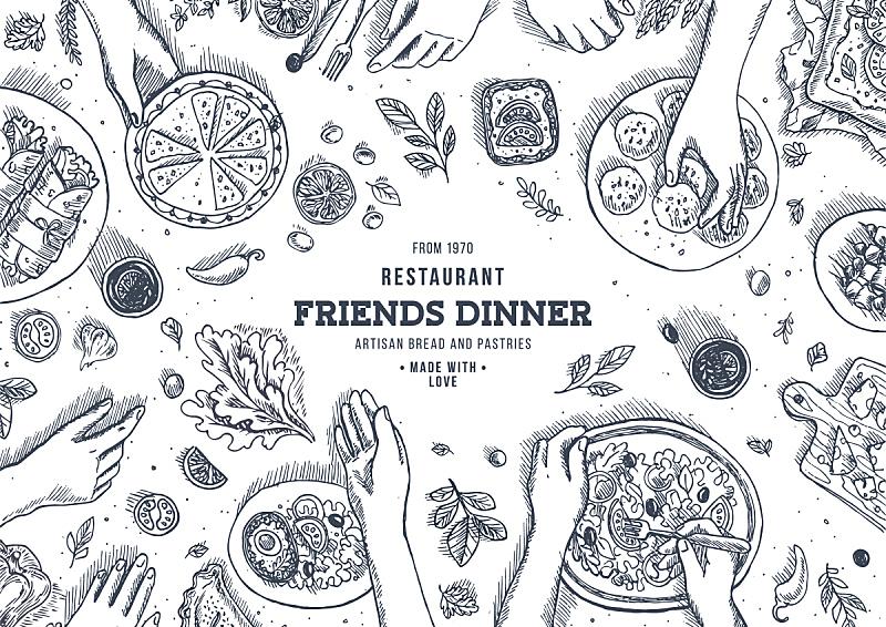 绘画插图,晚餐,矢量,看风景,背景,在上面,家庭,雕刻图像,图像,时尚
