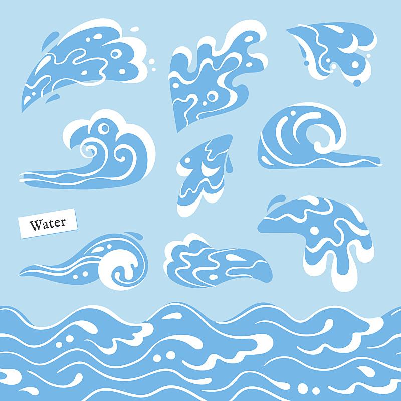 水,形状,四方连续纹样,波浪,海洋,海浪,小溪,溅,布置