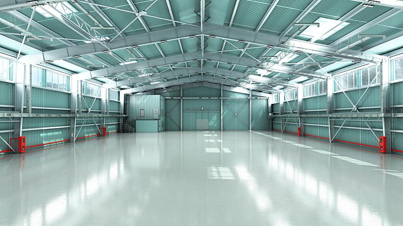 图像,仓库,空的,机库,三维图形,商务,汽车,现代,建筑业,设备用品