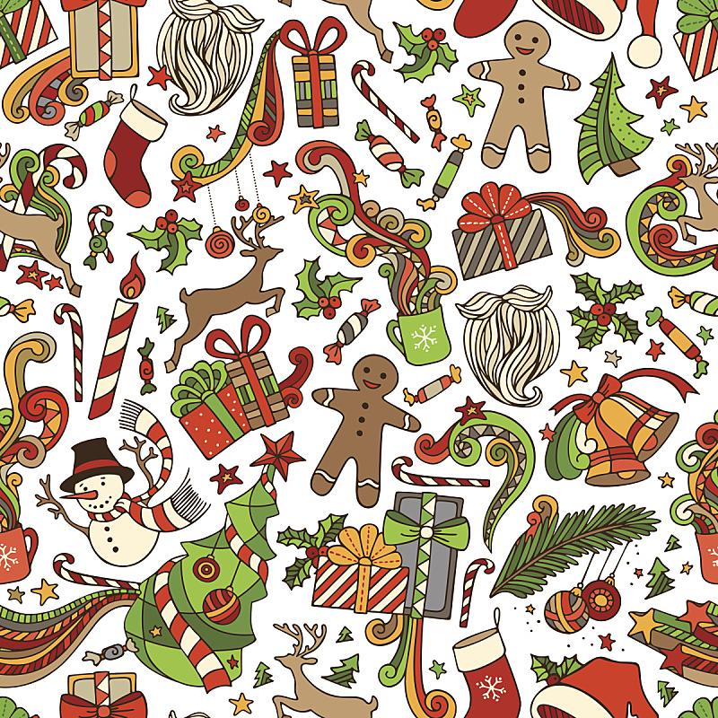 矢量,式样,卡通,姜饼男人,榭寄生,甘蔗糖,纹理效果,圣诞装饰物,杯