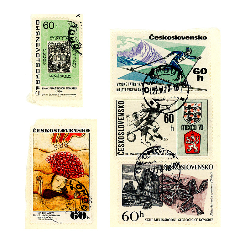 古老的,邮票,捷克,1972,20世纪风格,传统的斯洛伐克,奶油色,邮戳,1970年-1979年,五个物体