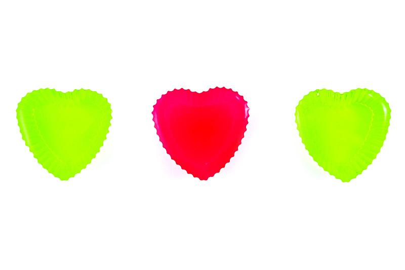 红色,绿色,心型,果冻鞋,水平画幅,可爱的,彩色图片,无人,果冻,摄影