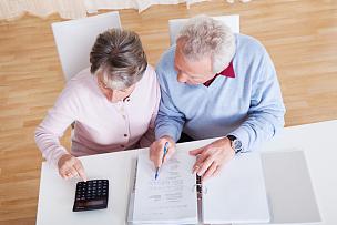 预算,老年伴侣,税表,税,债务,做计划,文档,老年人,古老的,忠告