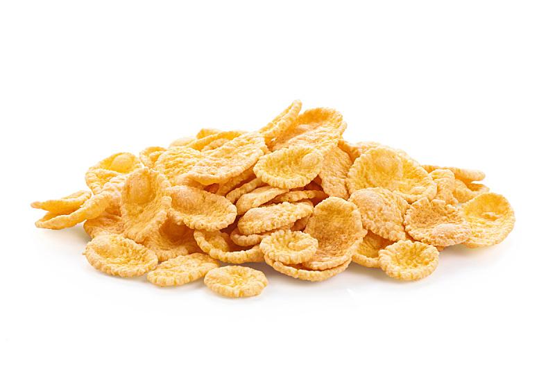 玉米片,谷类食品,白色背景,分离着色,什锦烤燕麦片,水平画幅,素食,无人,膳食,维生素