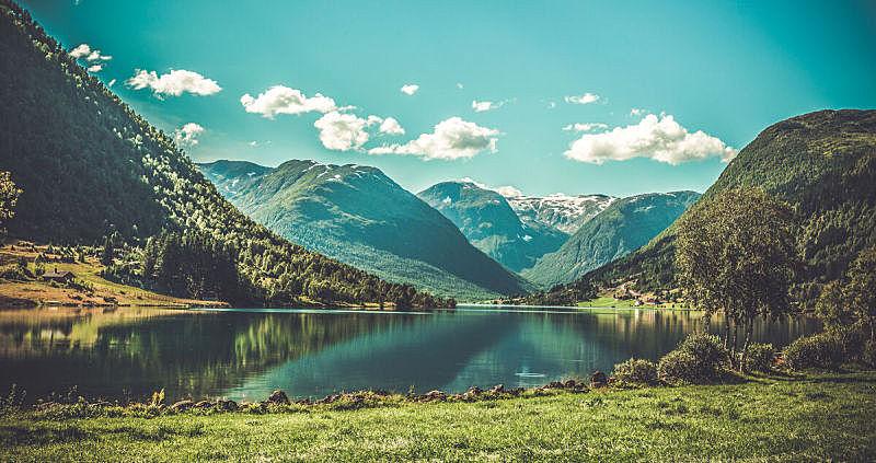 挪威,地形,峡湾,杰兰格,山谷,碳足迹,非都市风光,山,稻田,宽的