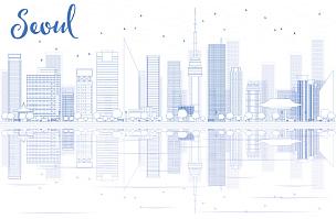 首尔,轮廓,建筑外部,城市天际线,蓝色,南山塔,云景,中间部分,云,现代