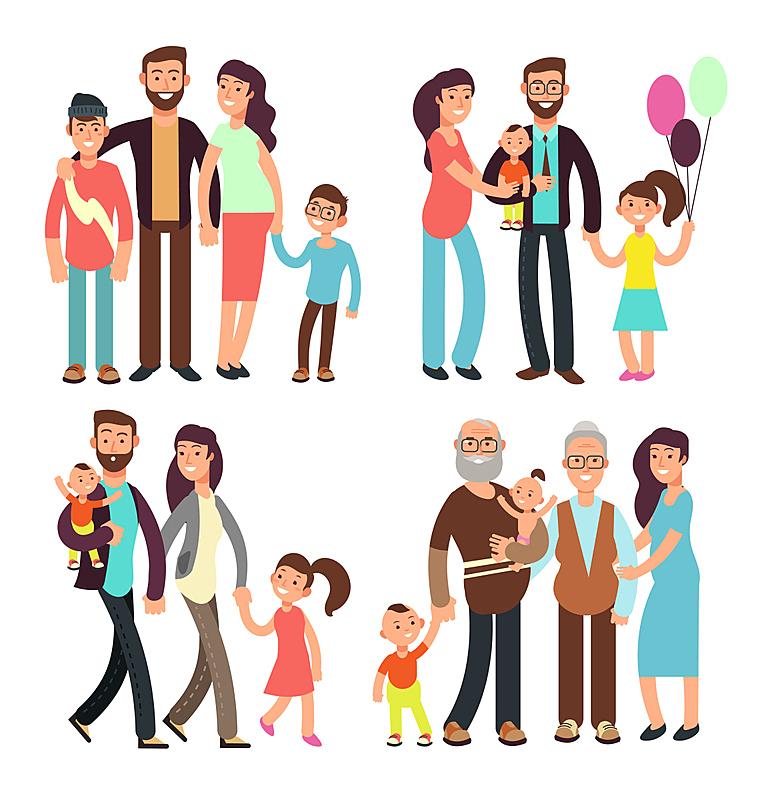 性格,卡通,矢量,幸福,人,家庭,动作,垂直画幅,父母,绘画插图