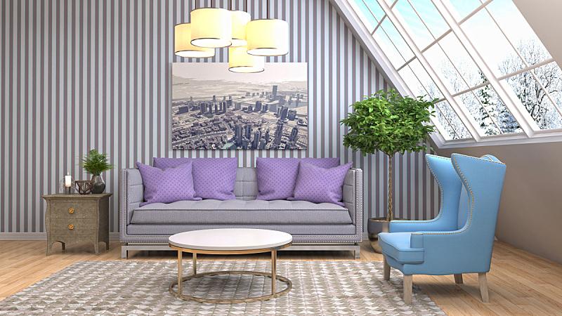 室内,起居室,绘画插图,三维图形,扶手椅,褐色,座位,桌子,水平画幅,无人