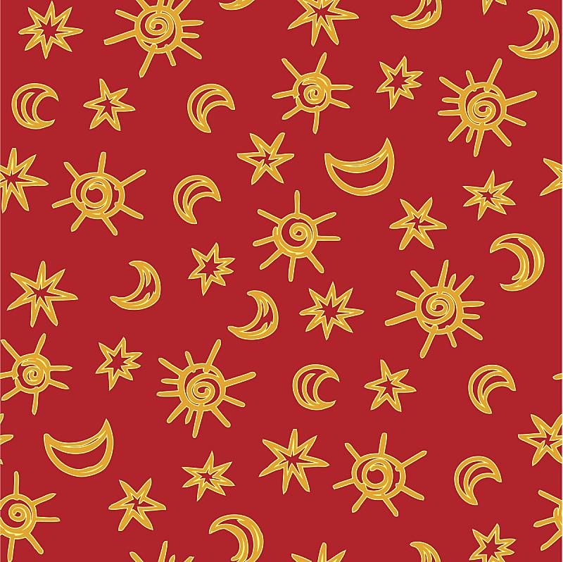 红色,式样,星图,黄色,星形,月亮,背景,美,包装纸,重复