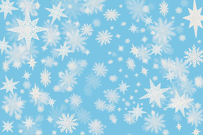 雪花,蓝色背景,冷,星形,水平画幅,雪,无人,蓝色,绘画插图