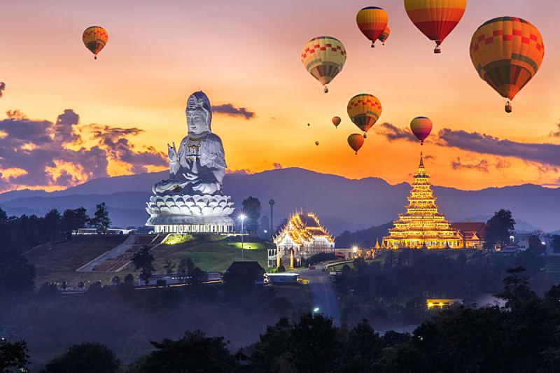 热气球,色彩鲜艳,在上面,清迈省,寺庙,泰国,素可泰,印度,曼谷,耀华力路