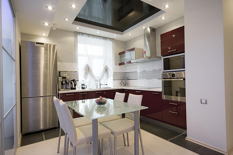 现代,室内,厨房,水平画幅,无人,椅子,家庭生活,餐桌,灶台,用具