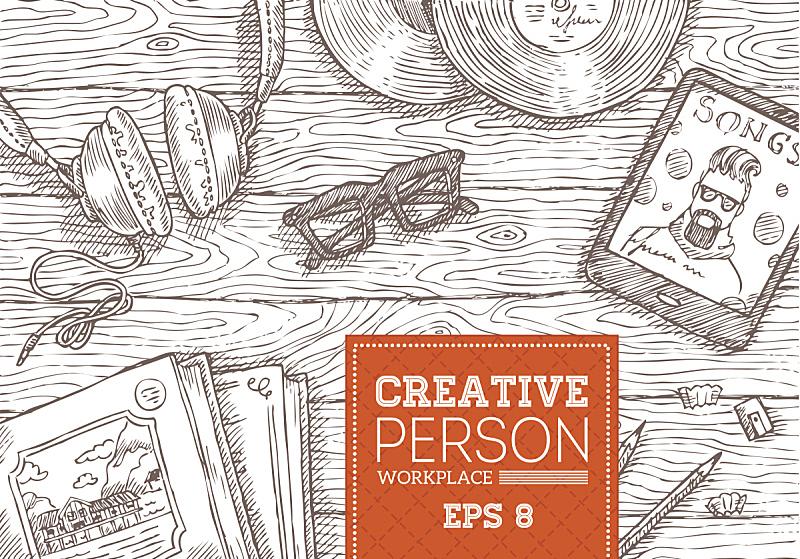 工作场所,人,创造力,办公室,绘画插图,古典式,计算机制图,计算机图形学,文档,现代