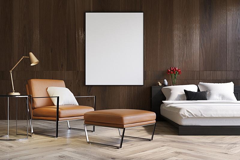 扶手椅,木制,卧室,新的,水平画幅,无人,椅子,绘画插图,灯