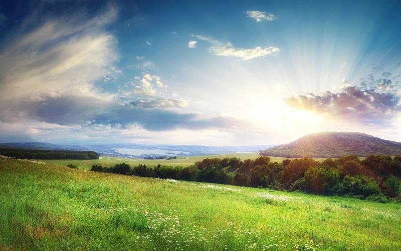 地形,自然美,天空,美,水平画幅,山,无人,草坪,夏天,生长