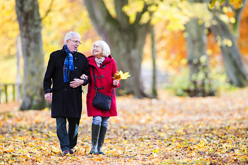 秋天,老年伴侣,留白,休闲活动,周末活动,仅成年人