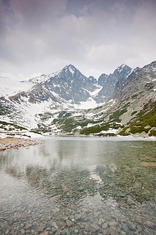 塔特里山脉,高大的,垂直画幅,水,天空,山,雪,无人,户外,湖