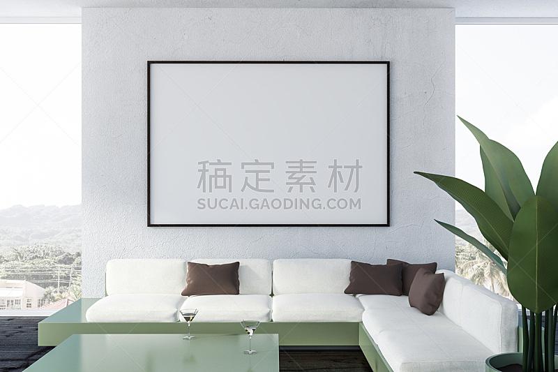 沙发,起居室,白色,特写,华贵,舒服,椅子,现代,窗户