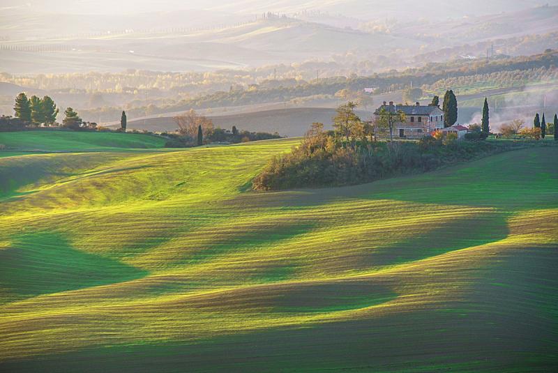 托斯卡纳区,农舍,自然,草地,水平画幅,山,秋天,无人,早晨,户外