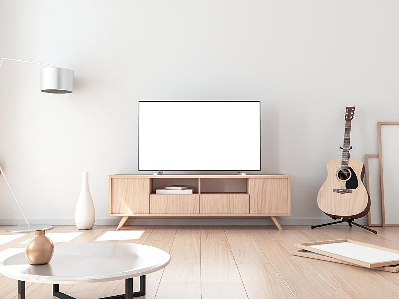 起居室,智能电视,声学吉他,水平画幅,无人,绘画插图,架子,家具,居住区,现代