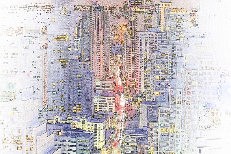 建筑业,水彩画颜料,铅笔画,抽象,伦敦城,多色的,边框,艺术,水平画幅,夜晚