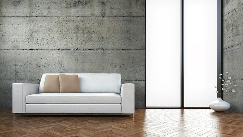 沙发,现代,室内,华丽的,等候室,混凝土,起居室,正面视角,留白,水平画幅