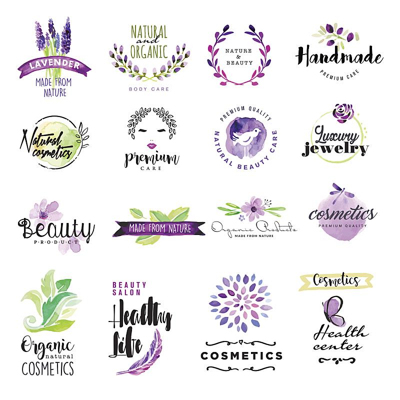 美,标志,水彩画,举起手,绘画插图,彩妆,符号,鸟类,标签