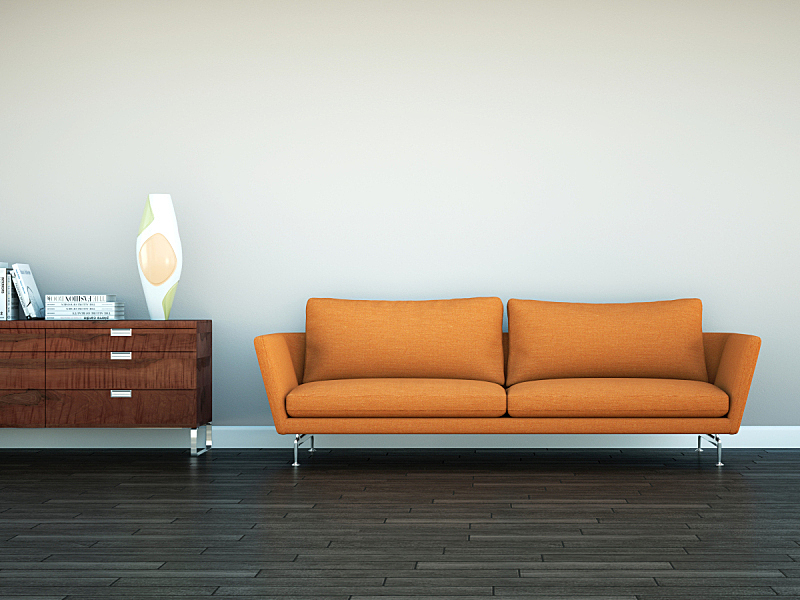 沙发,前面,橙色,围墙,明亮,褐色,住宅房间,茶几,华贵,砖