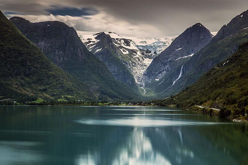 行星,神话,桨叉架船,briksdalsbreen glacier,约斯特谷冰原,自然,挪威,斯堪的纳维亚半岛,图像,无人