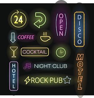 绘画插图,矢量,霓虹灯,标签,装管,夜晚,鸡尾酒,商店,灯,箭头符号