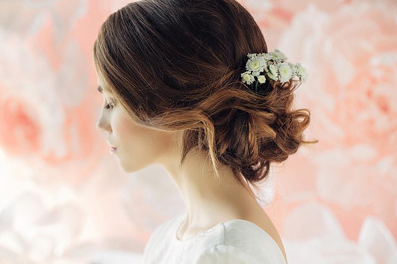 新娘,青年人,自然美,影棚拍摄,发型,头发,妻子,仅一朵花,婚姻,美