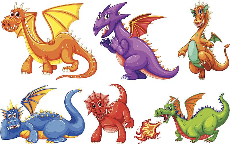 龙,可爱的,创造力,宠物,黄色,红色,紫色,幻想,图像,已灭绝生物