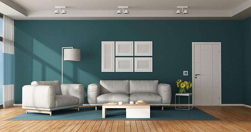 蓝色,起居室,极简构图,白色,边框,水平画幅,无人,天花板,家具,光