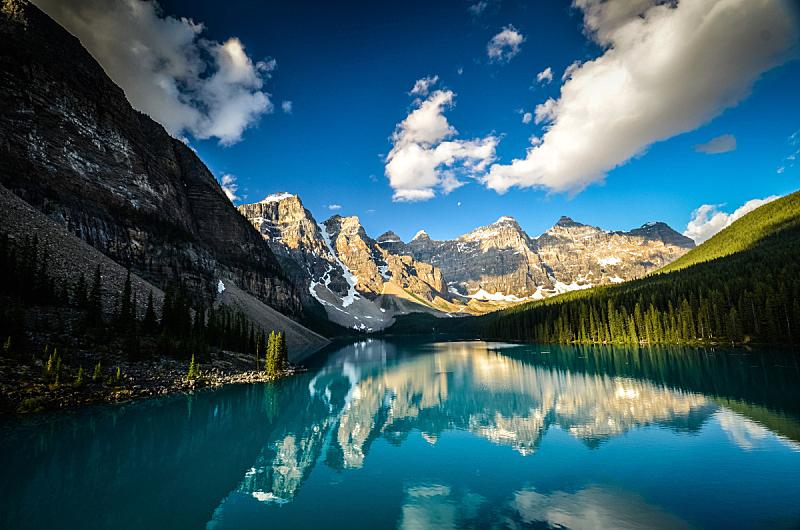 十峰谷,黎明,水,天空,美,水平画幅,雪,阿尔伯塔省,无人,夏天