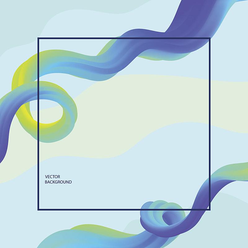 边框,明亮,三维图形,矢量,蓝色,波浪,背景,多色的,缎带,表格
