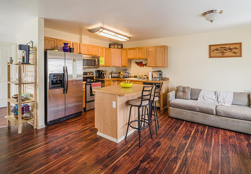 现代,室内,厨房,新的,水平画幅,椅子,天花板,家具,干净,明亮